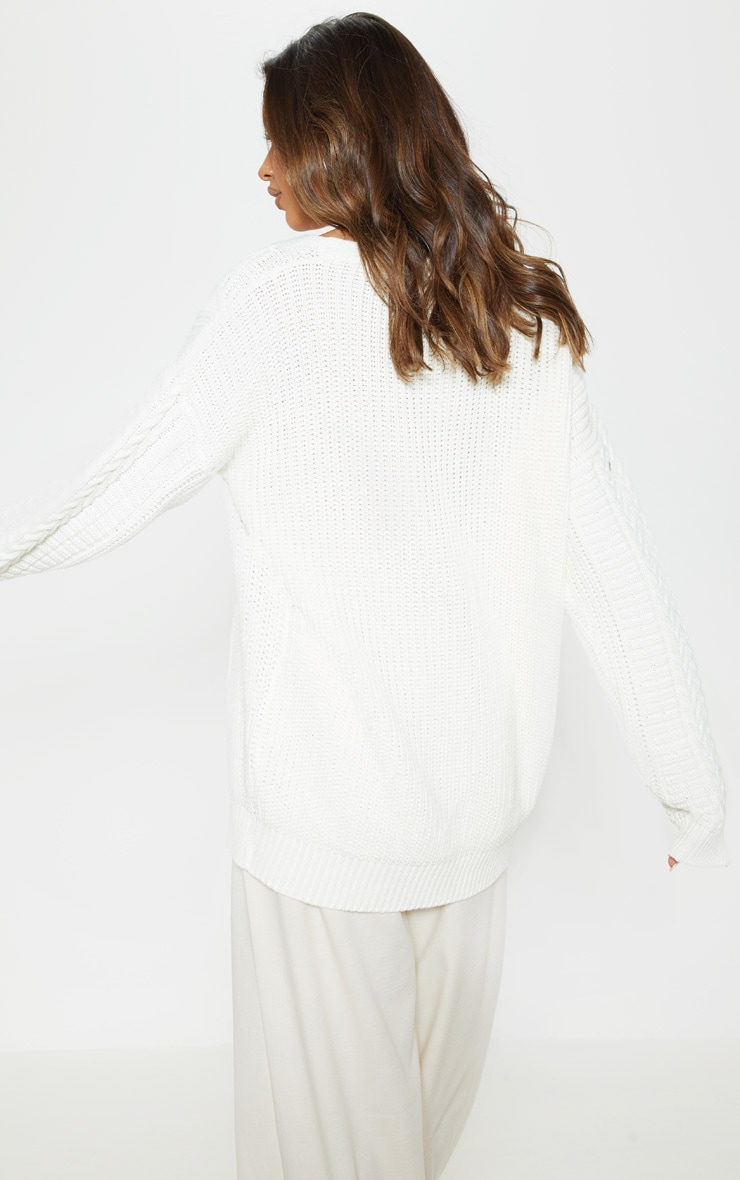 Cream Oversized Cable Knit Cardigan 2