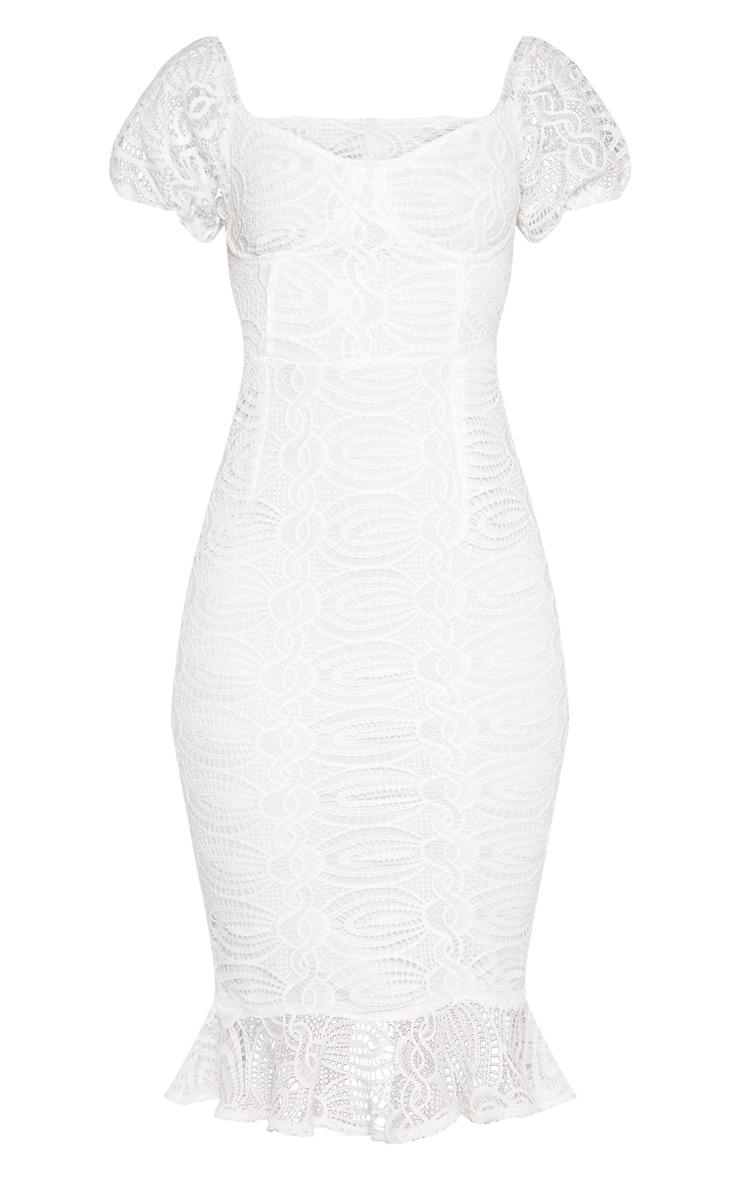 White Cup Detail Lace Bardot Midi Dress 3
