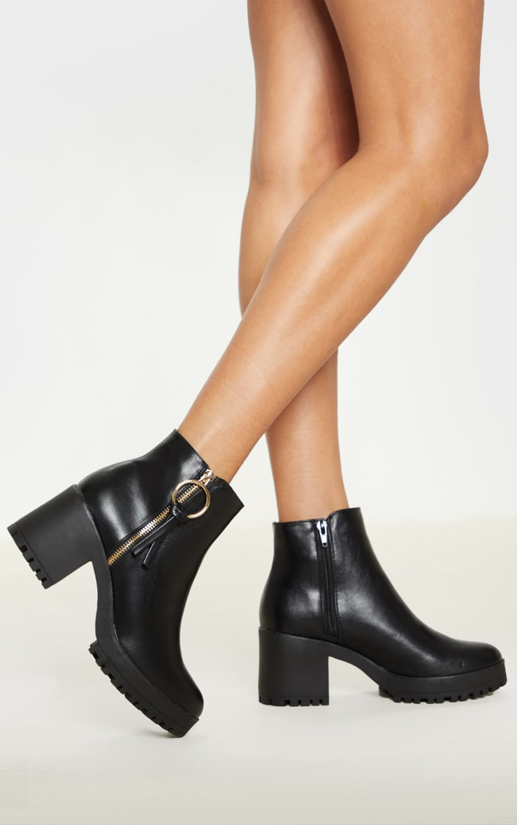Black Side Zip Chunky Boot 2