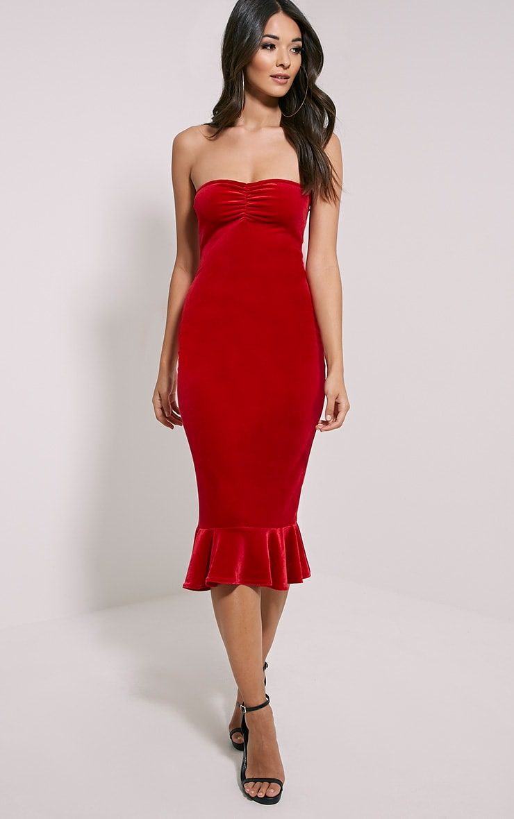 Tawny Red Velvet Bandeau Midi Dress 1