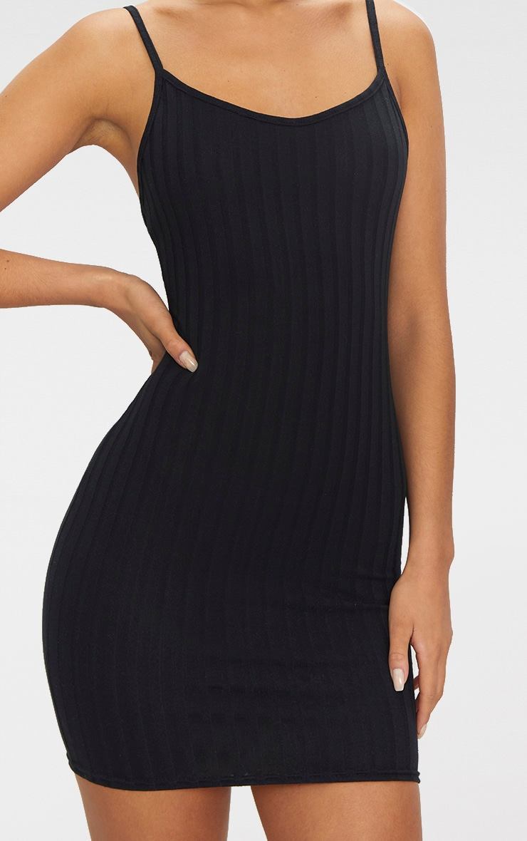 Black Rib Knit Strappy Dress 5