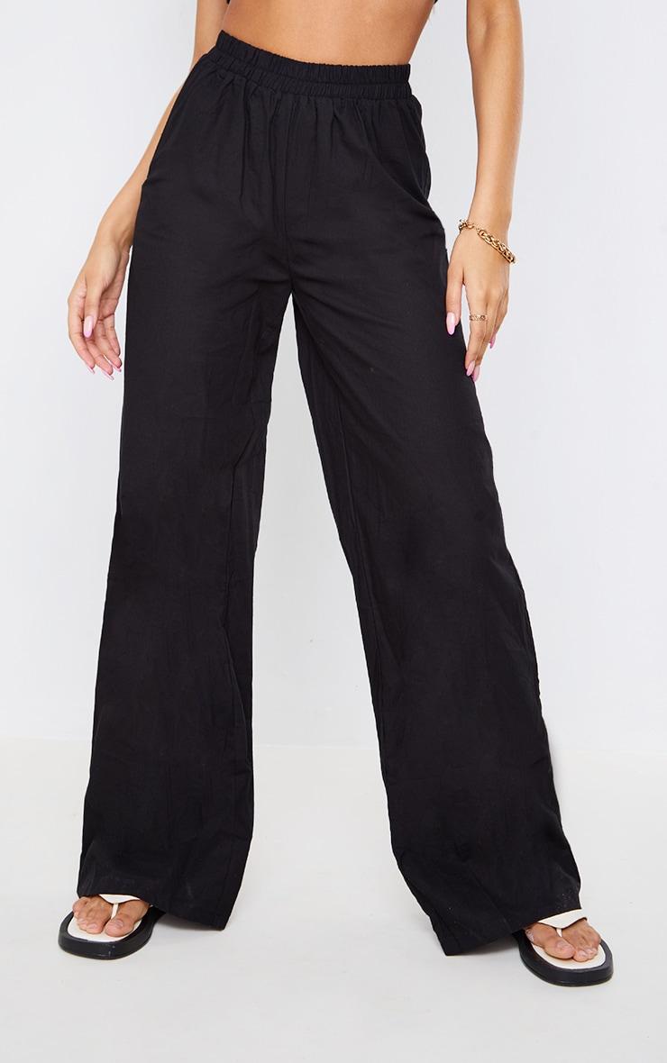Black Textured Linen Look Elasticated Waist Wide Leg Pants 2