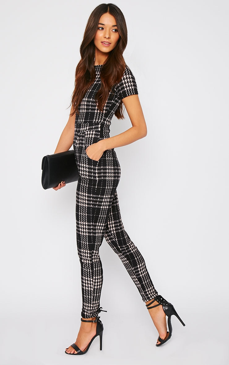 Cara Black Dogtooth Check Jumpsuit  3