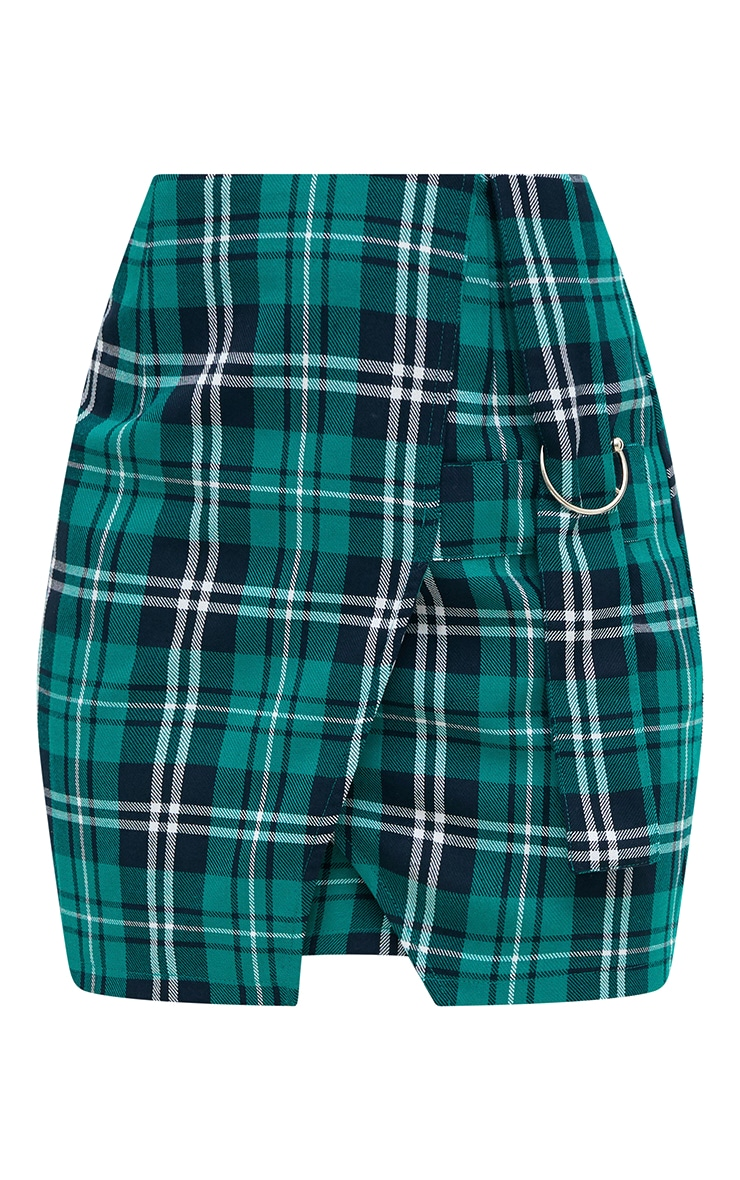 Green Check Ring Detail Mini Skirt 3
