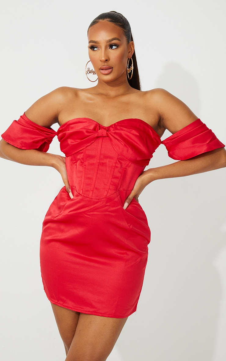 Red Satin Bardot Corset Bodycon Dress 1