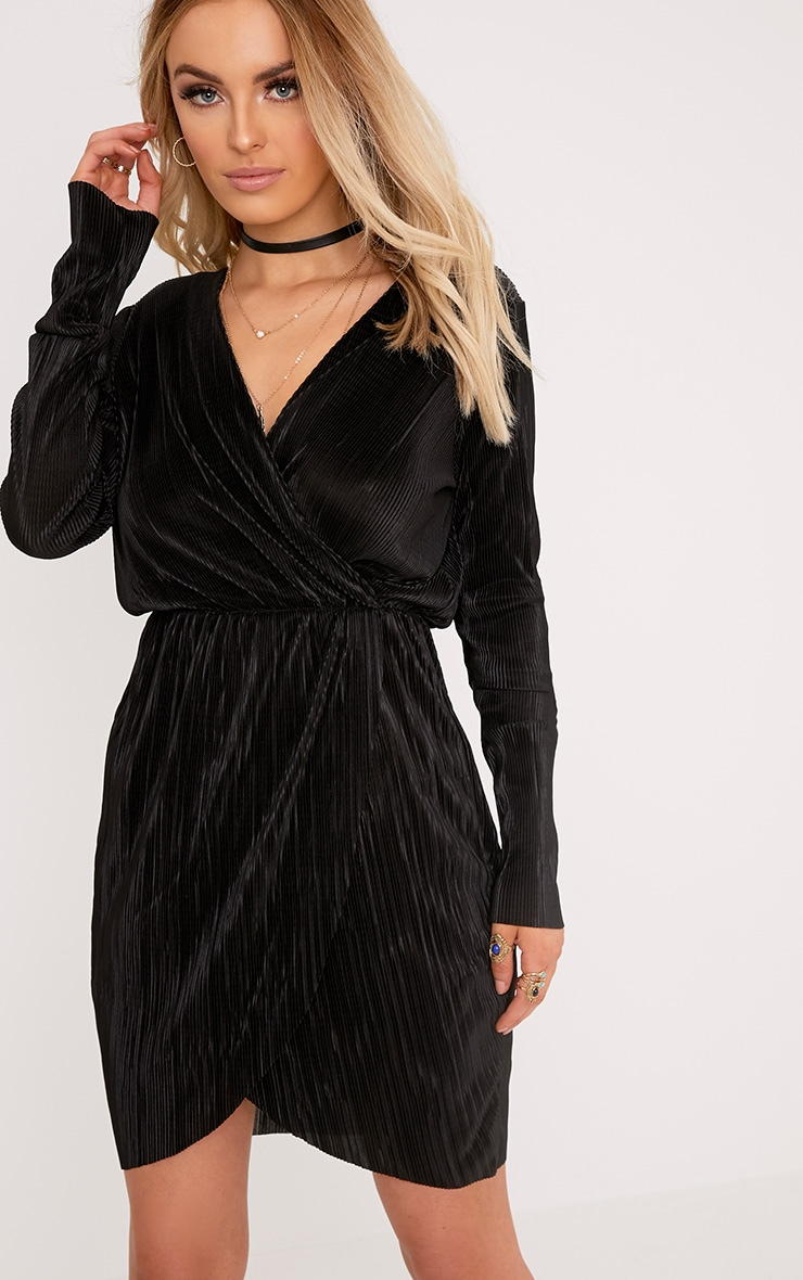 Eron Black Plunge Wrap Pleated Dress 1
