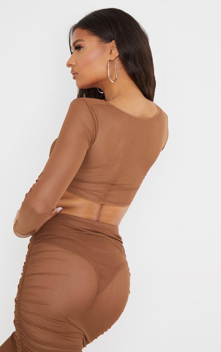 Chocolate Mesh Raw Seam Tie Front Crop Top 2