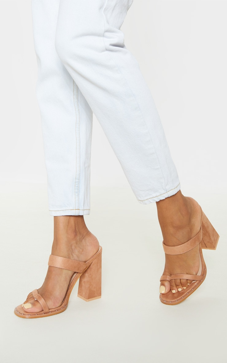 Nude Toe Loop Mule Block Heel Stud Detail Sandal by Prettylittlething