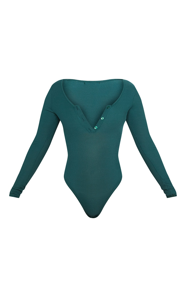 Shape Emerald Green Ribbed Long Sleeve Bodysuit 3