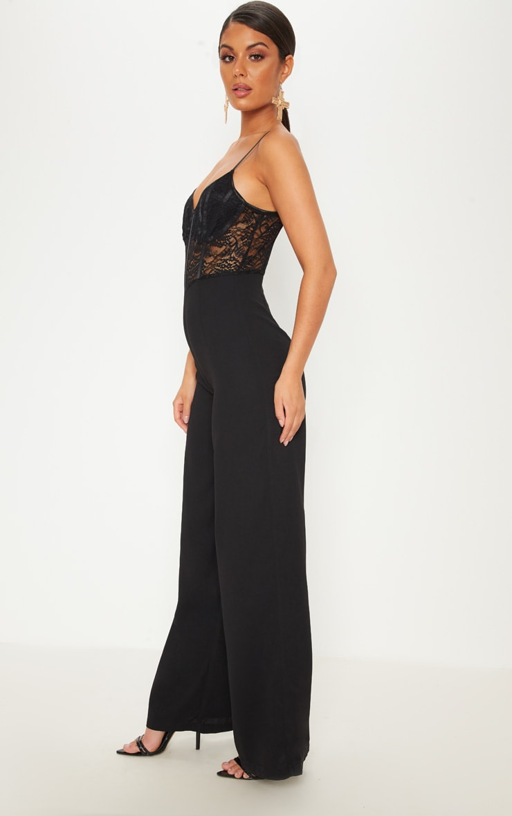 Black Lace Top Binding Detail Jumpsuit 4