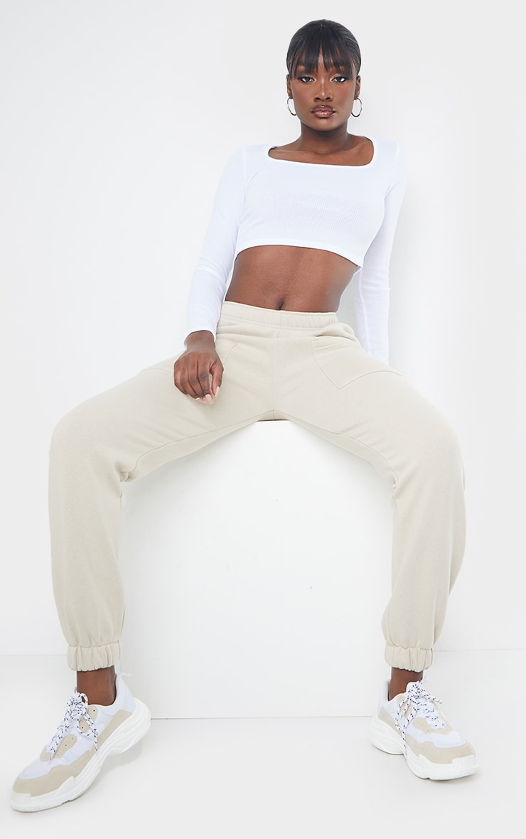 Tall White Square Neck Ribbed Long Sleeve Crop Top 3