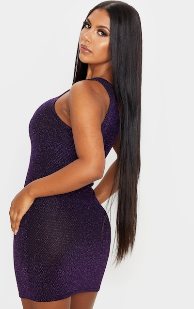 Purple Strappy Front Detail Sheer Glitter Bodycon Dress
