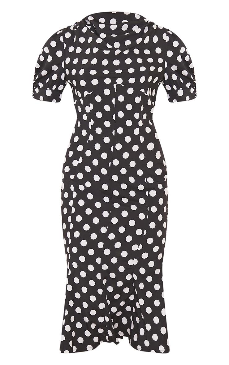 Black Polka Dot Puff Sleeve Draped Neck Midi Dress 5