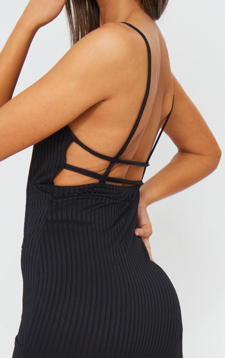 Black Ribbed Strappy Back Bodycon Dress 4