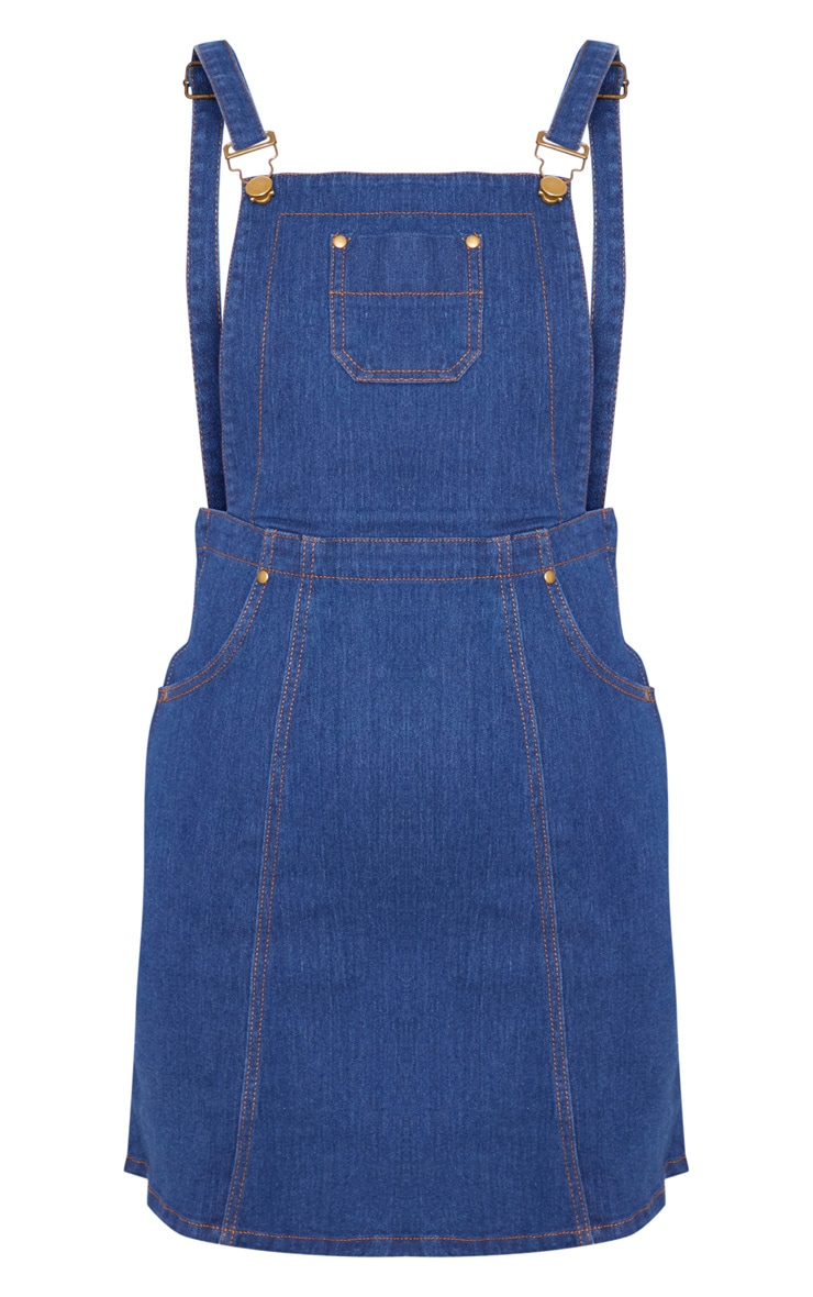Martine Indigo Blue Denim Pinafore Dress 3