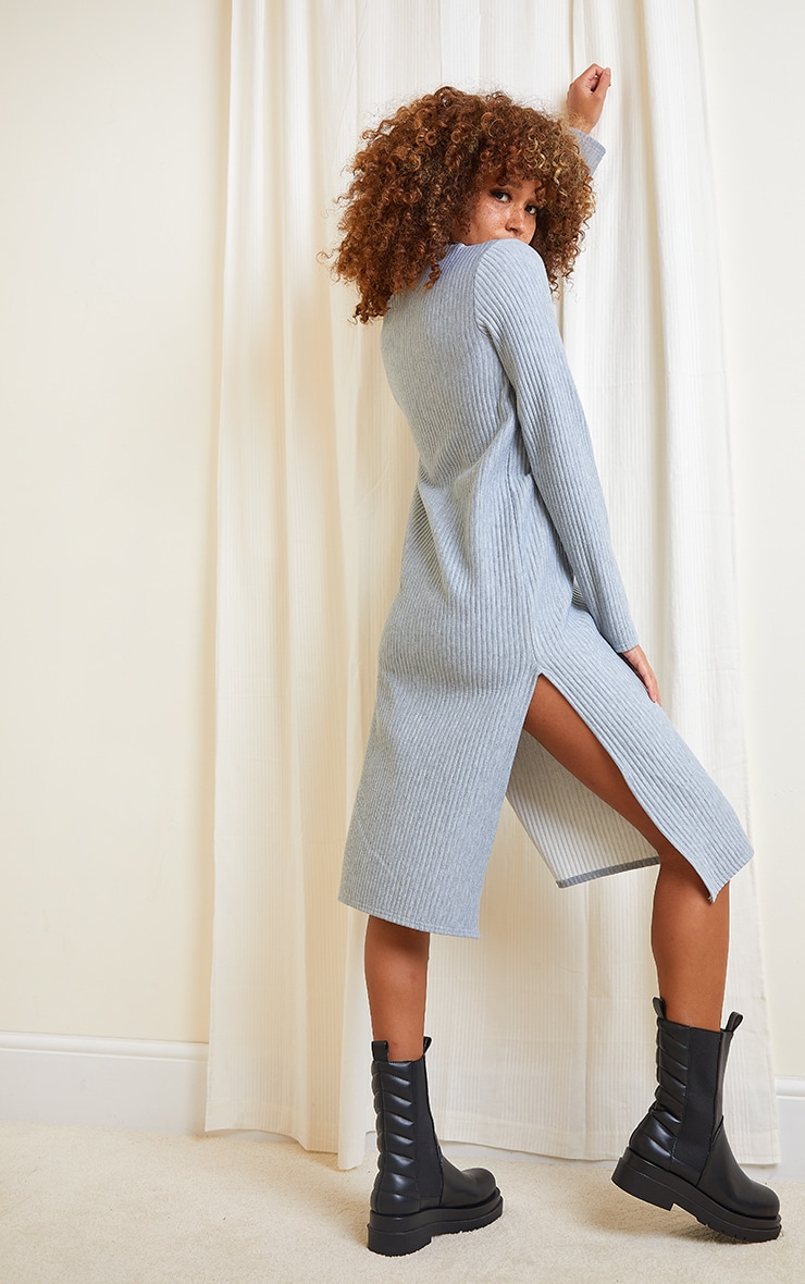 Grey Marl Thick Rib High Neck Long Sleeve Midi Dress 2