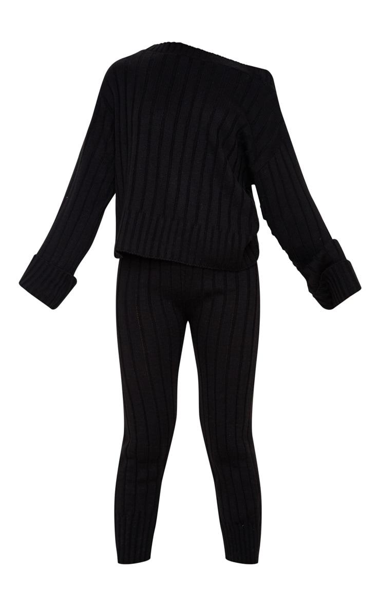 Ensemble lounge noir à pull qui dénude les épaules et legging  3