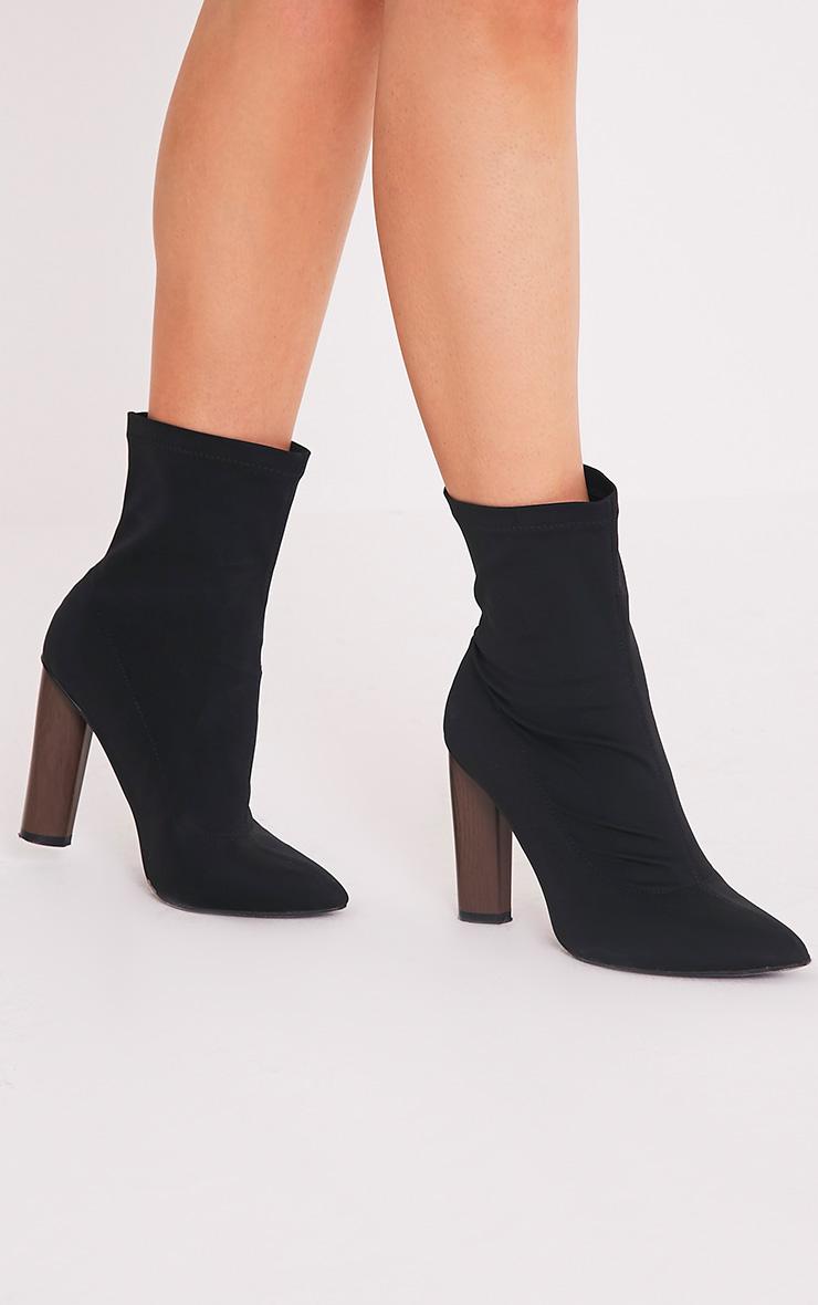 Celisa Black Lycra Ankle Boots 1