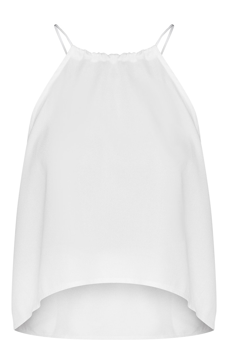 Petite White Floaty Tie Back Top 2