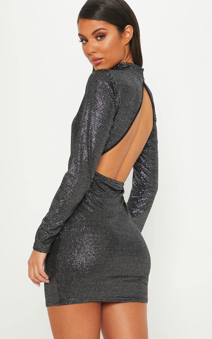 b653eed1e0e9e Black Glitter High Neck Bodycon Dress | PrettyLittleThing