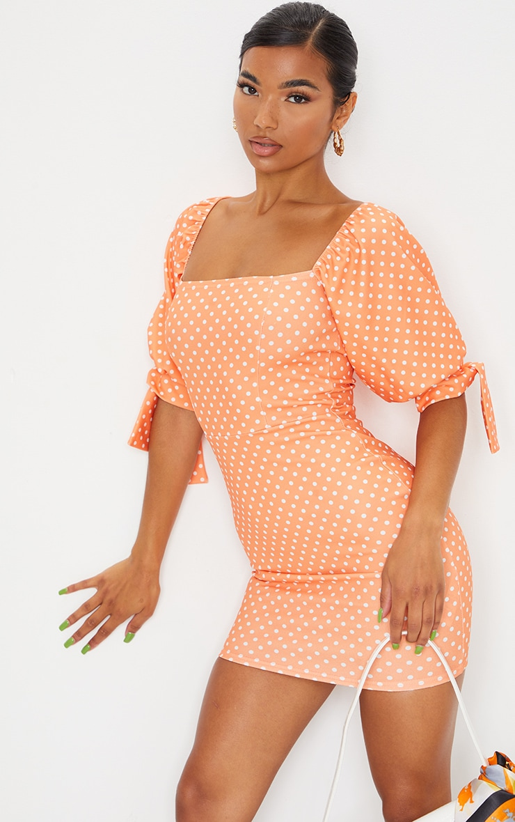 Tangerine Polka Dot Puff Sleeve Tie Back Bodycon Dress 3