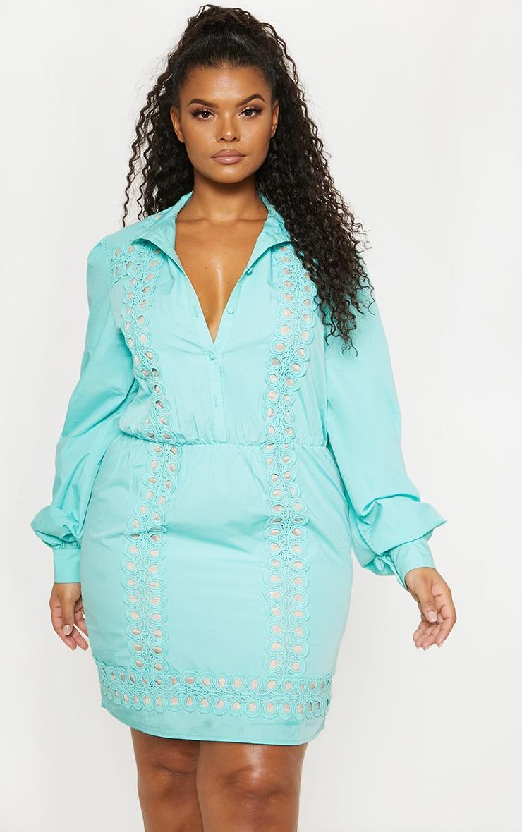 Plus Mint Lace Panel Shirt Dress