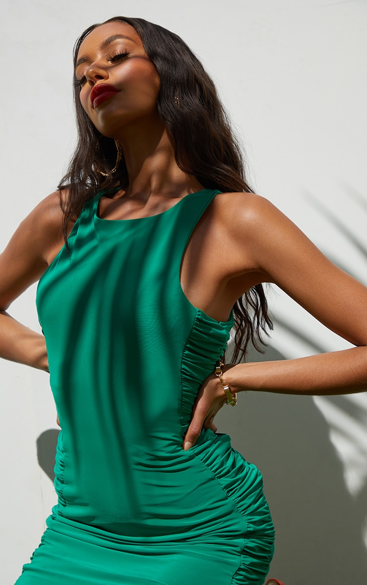 Green Slinky Racer Neck Ruched Side Bodycon Dress 4