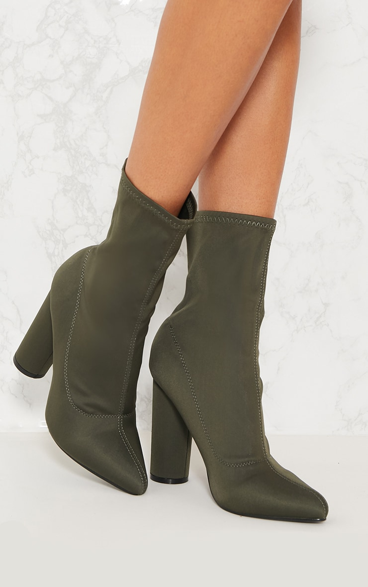 Khaki Block Heel Sock Boot 1