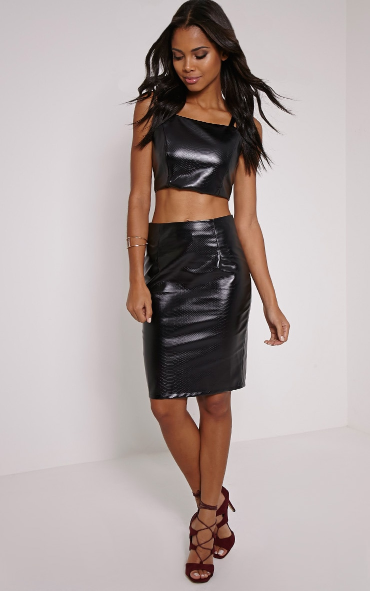 Mollie Black Snake Print Faux Leather Midi Skirt 1
