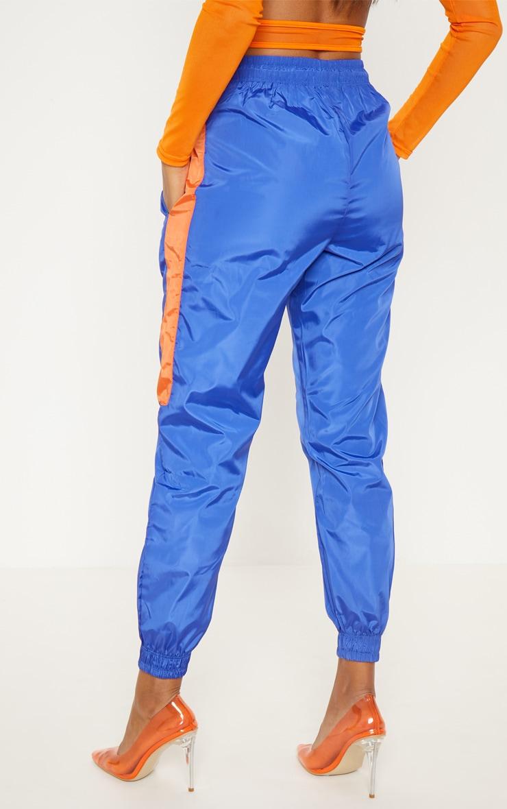 Petrol Blue Contrast Panel Shell Trouser 3