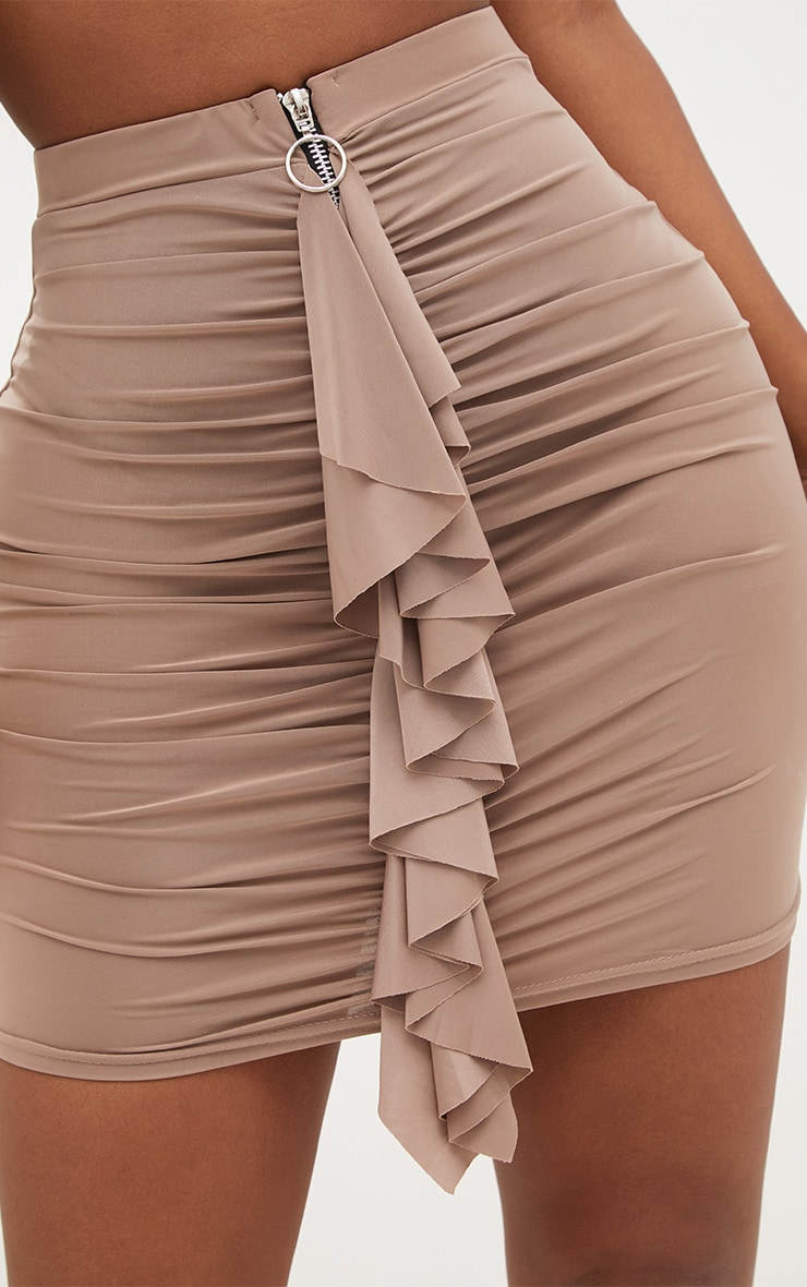 Shape Taupe Ruched Zip Front Mini Skirt  6