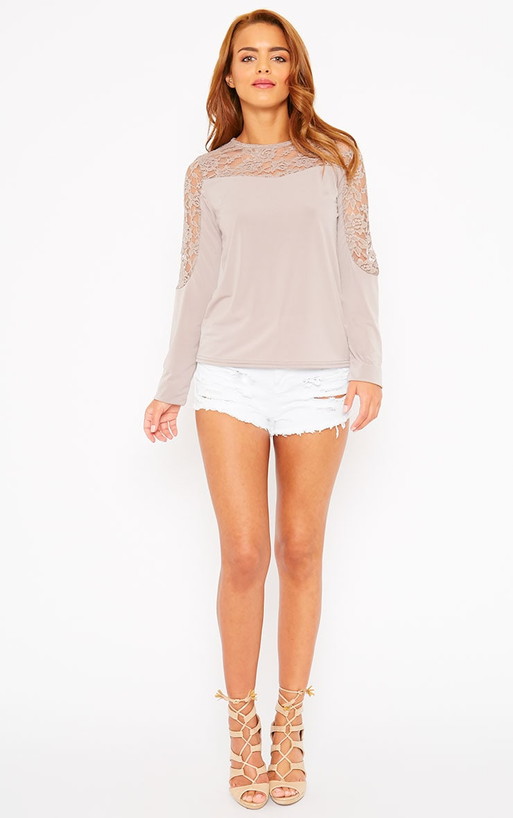 Loretta Mocha Long Sleeve Lace Panel Top 4