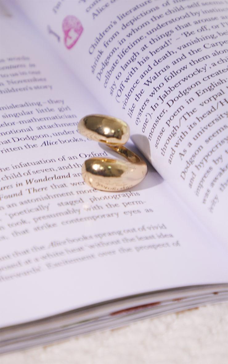 Gold Chunky Overlap Twist Ring 3