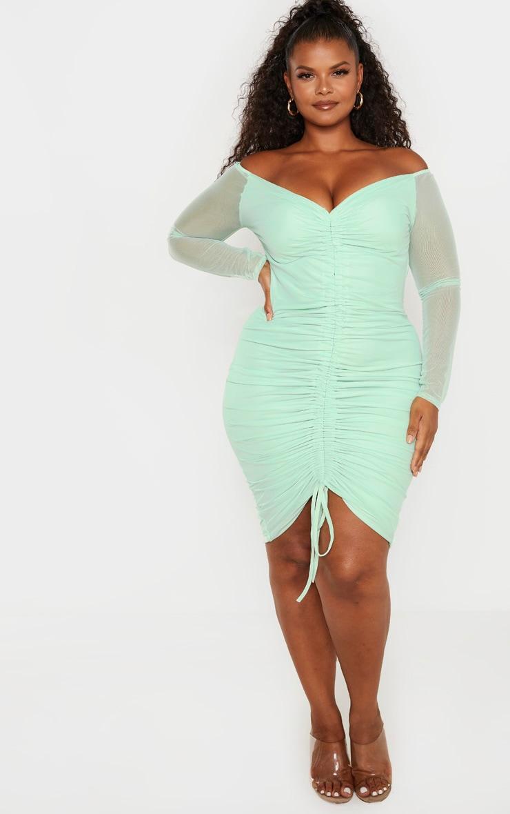 Plus Mint Mesh Ruched Bardot Midi Dress 4