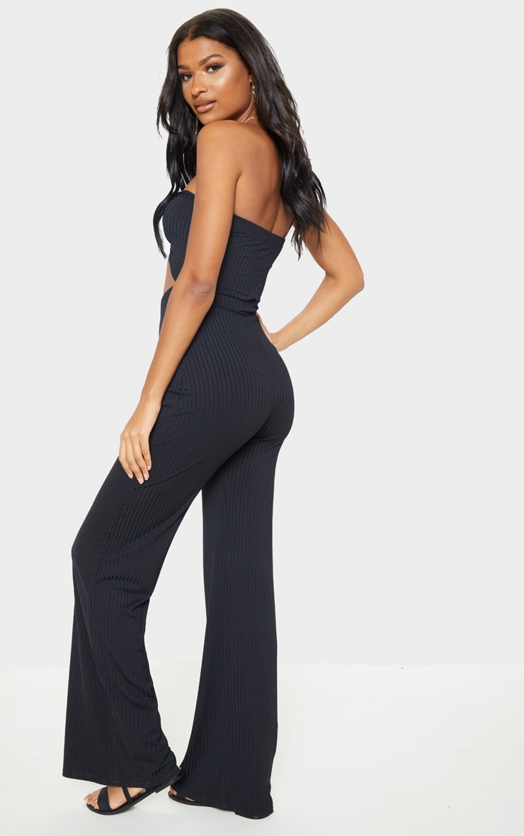 Black Ring Detail Bandeau Jumpsuit 2