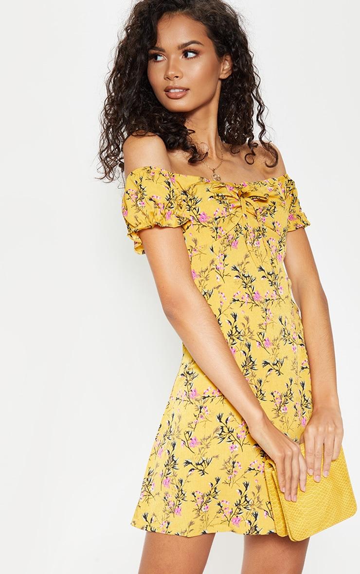 Mustard Floral Tie Bardot Shift Dress 1
