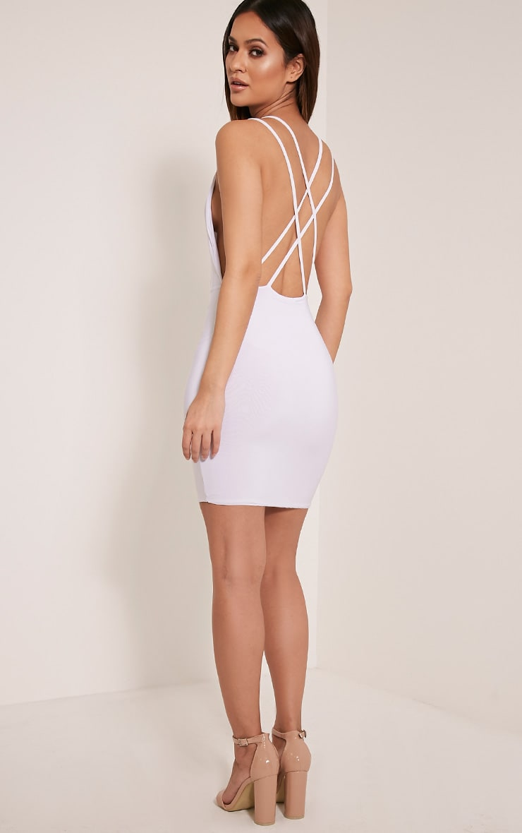Dacey White Double Cross Back Bodycon Dress 5