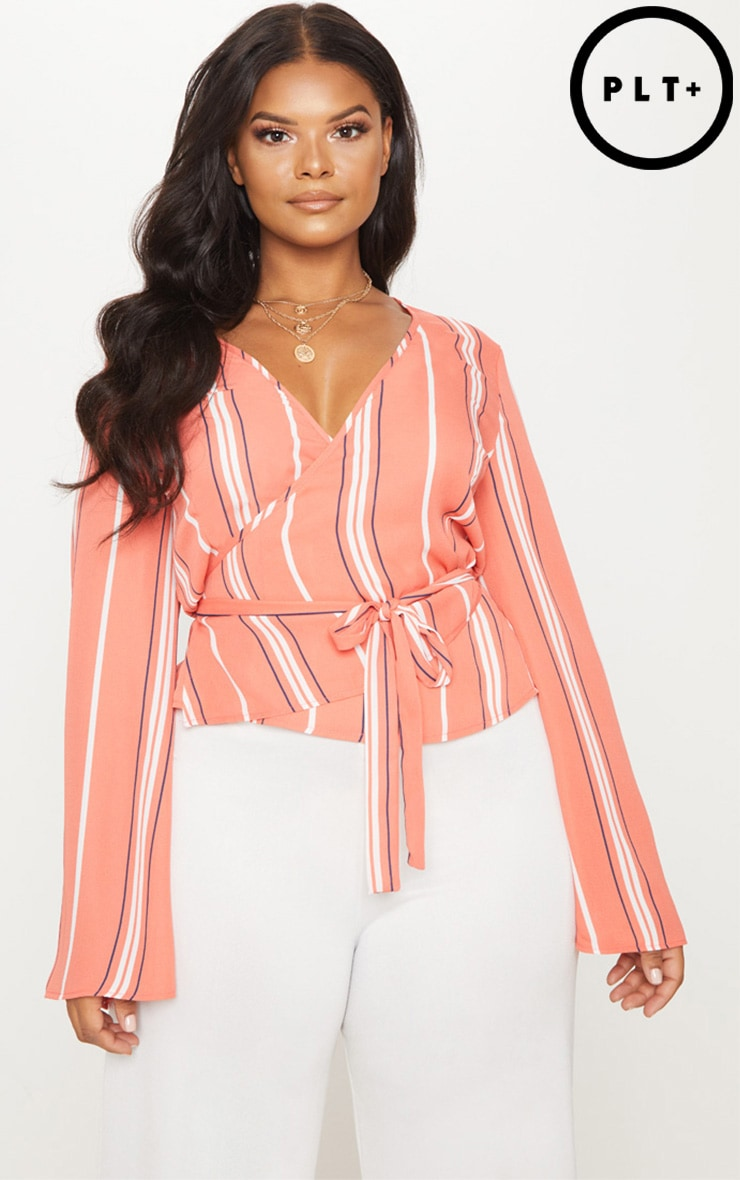Plus Coral Stripe Wrap Chiffon Top