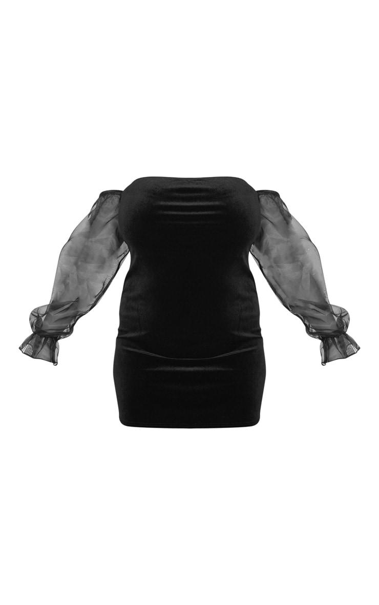 Plus Black Velvet Organza Sleeve Bodycon Dress 3
