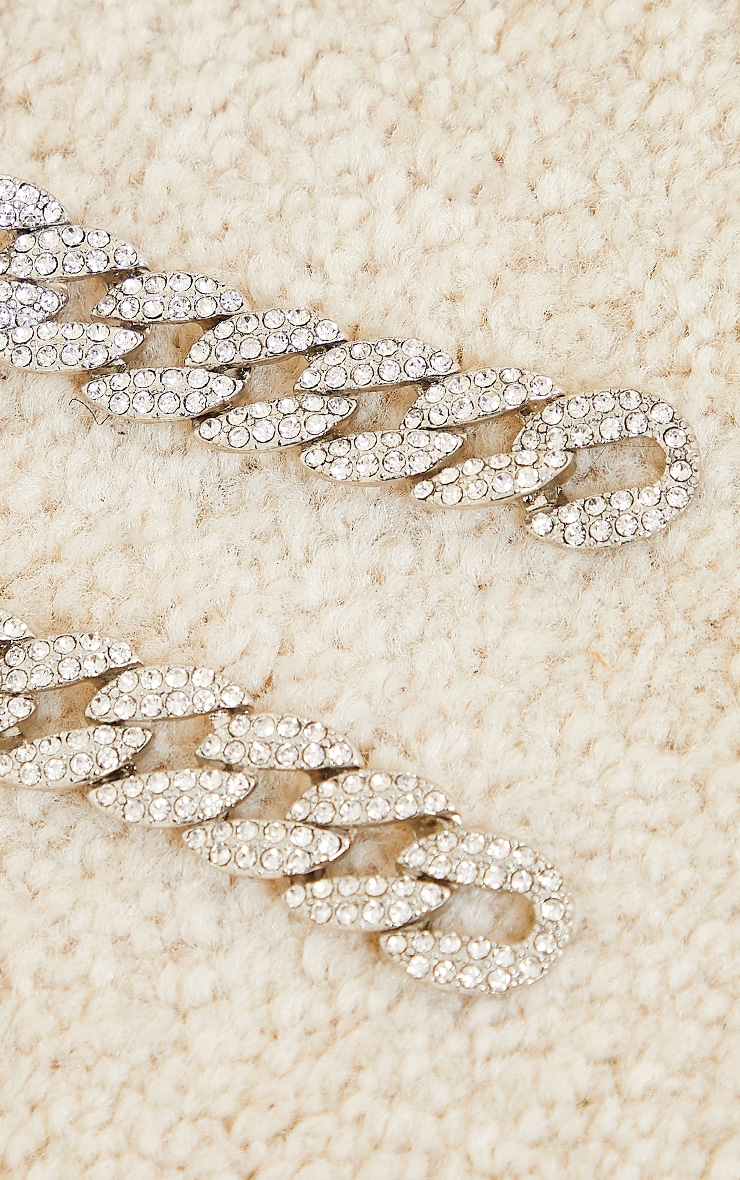 Silver Oversized Pave Chain Earrings 2