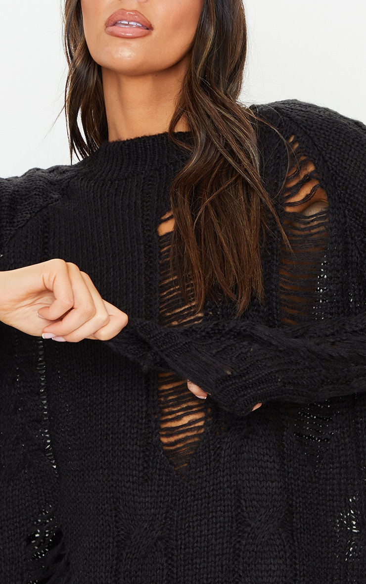 Black Distressed Cable Knit Oversized Sweater 4
