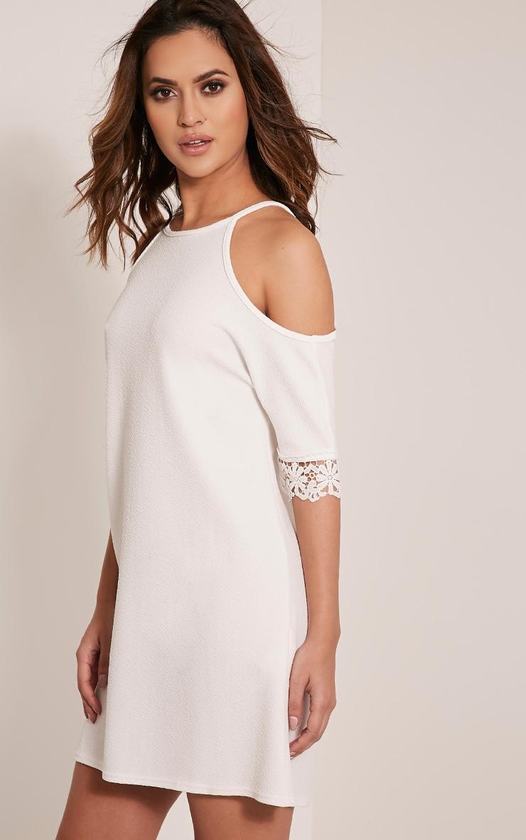 Christie White Lace Trim Cold Shoulder Dress 4