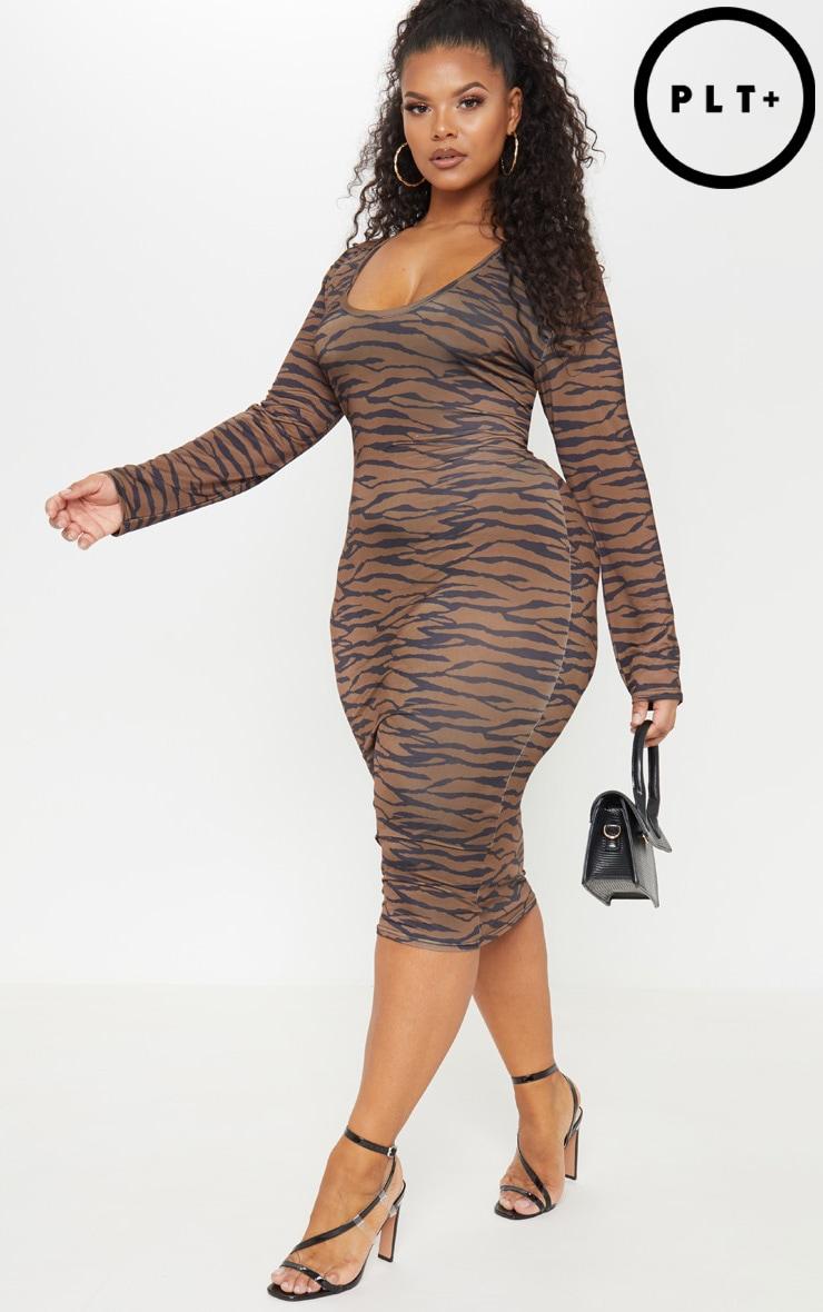 Plus Brown Tiger Print Plunge Bodycon Dress
