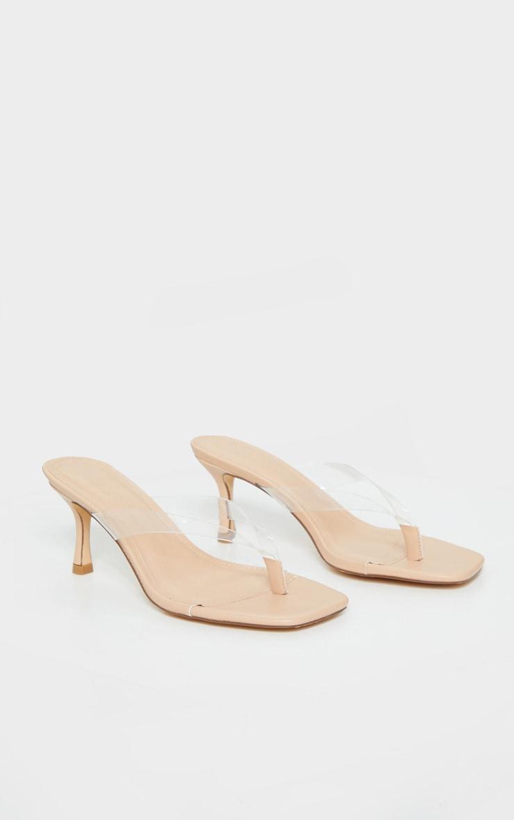 Nude Low Heel Tie Thong Heeled Mules 3