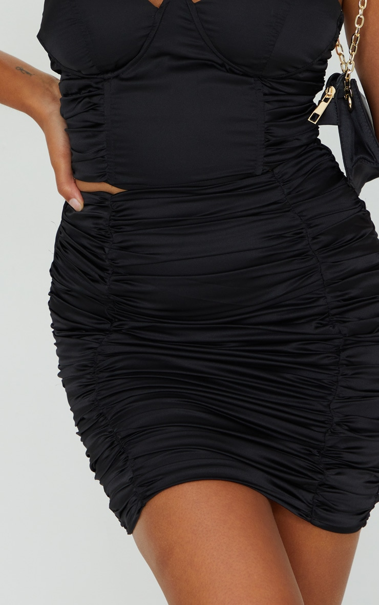 Petite Black Satin Ruched Skirt 5