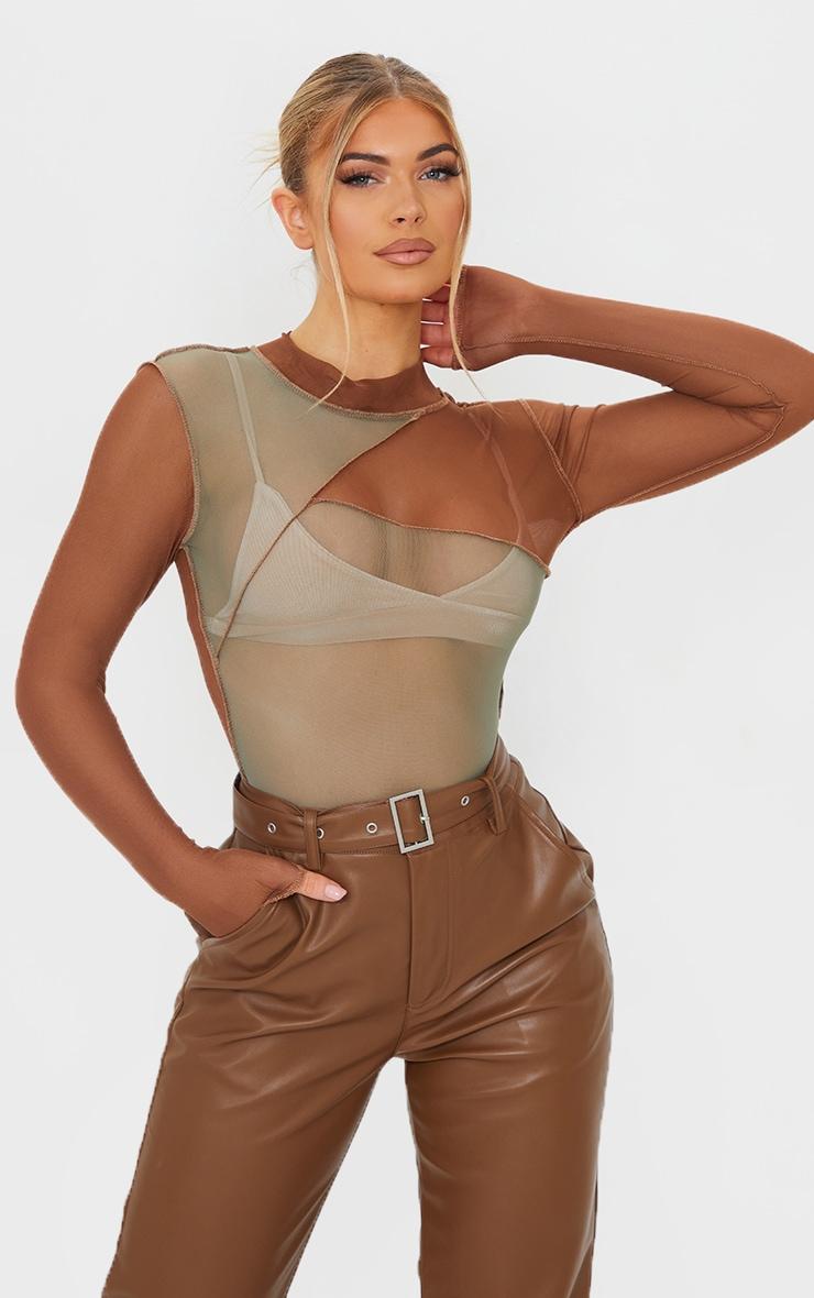 Khaki Mesh High Neck Patchwork Long Sleeve Bodysuit 1