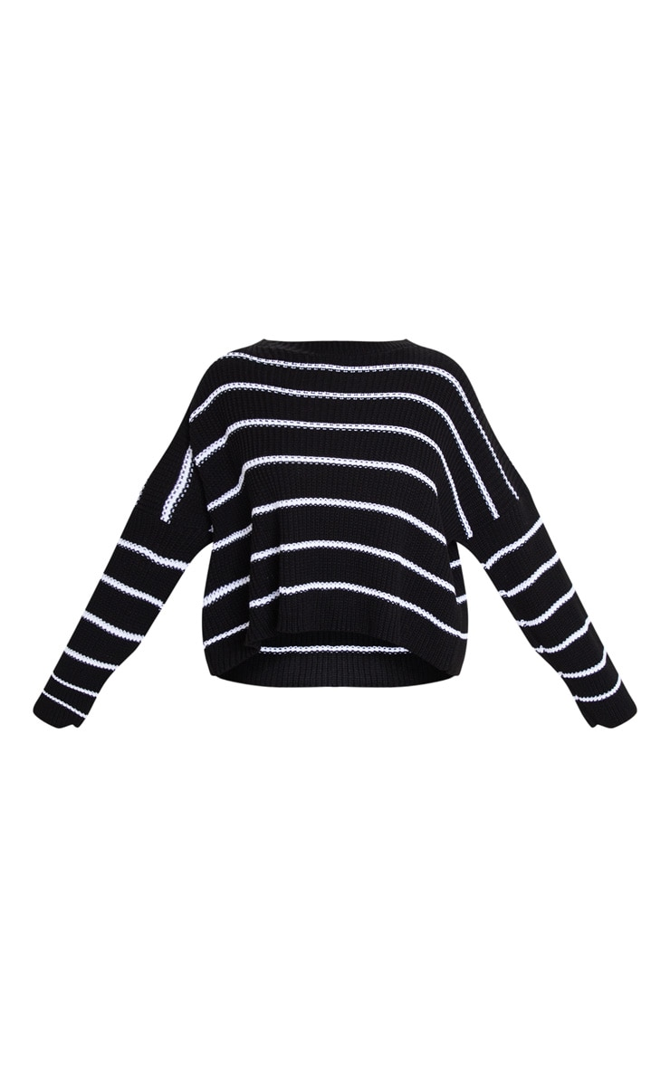 Black  Narrow Stripe Knitted Sweater 3