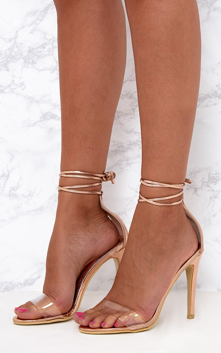 Rose Gold Clear Strap Ankle Tie Heels 2