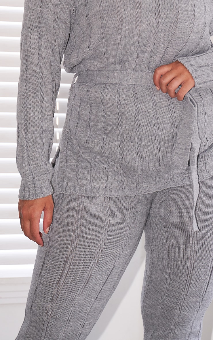 Plus Grey Belted Longline Sweater And Leggings Lounge Set 3