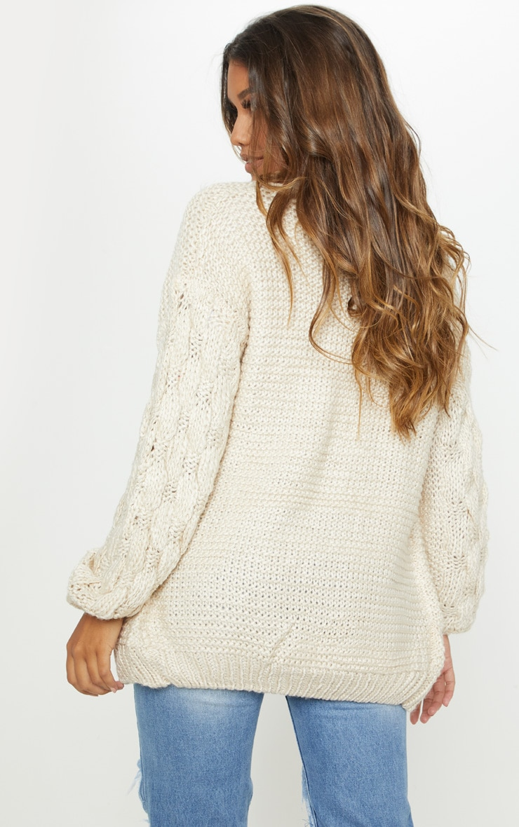 Cream Contrast Knit Cardigan 2